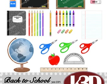 Back to school, Time for school, clipart clip art instant digital download. 31 digital images, graphics