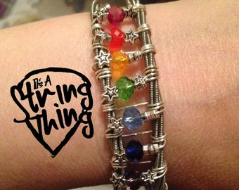 Guitar String Bracelet Bangle Rainbow Starburst With Crystals
