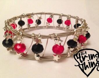 Guitar String Bracelet Bangle Starburst With Crystals - Red/Black