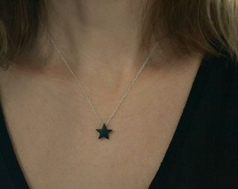 Star Necklace | Black and Silver Star Charm | Layering Necklace