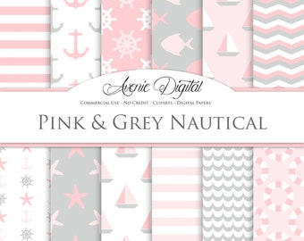 Pink and gray Nautical Digital Paper. Scrapbooking Backgrounds. Light pink patterns for Commercial Use. Baby Girl clipart Instant Download.