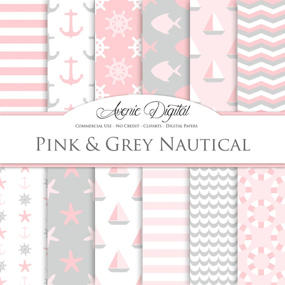 Pink And Gray Nautical Digital Paper Scrapbooking Backgrounds