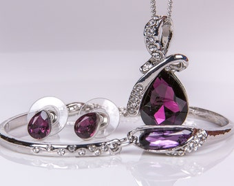Purple Crystal Bridal Set. Bridesmaids Jewelry Set, Crystal Pendant Necklace , Wed5ding Jewelry, Prom, Jewelry set 51