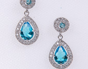 Blue Crystal Bridal Set. Bridesmaids Jewelry Set, Crystal Pendant Necklace AND Earrings Teardrop Pendant Wedding Jewelry, Prom, Yellow N69