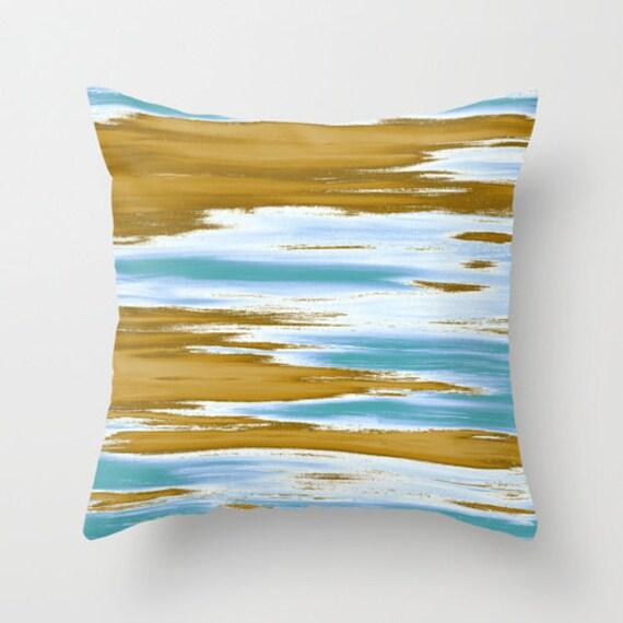 Blue Pillow Beach Pillow Coastal Pillow Art by DesignbyJuliaBars