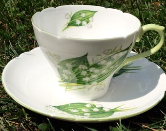 Vintage Shelley Lily of the Valley Teacup and Saucer #13822