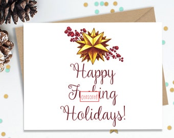 Holiday Cards, Funny Greeting Cards, Holiday Greeting Cards, Christmas Cards, Blank Greeting Cards, Handmade Cards, FourLetterWordCards