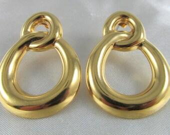 Vintage Gold Tone Door Knocker Style Hoop Pierced Earrings