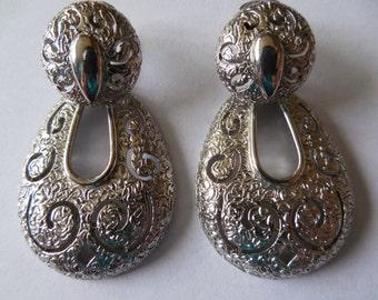 Sarah Coventry  Large Silver Door Knocker Dangle Clip Earrings