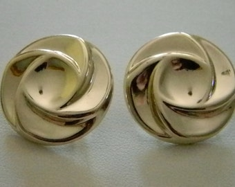 Large Round Circle Swirl Silver Tone Clip Earrings