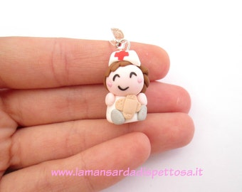 Wedding favor for graduation-pendant nurse with band-aid in fimo