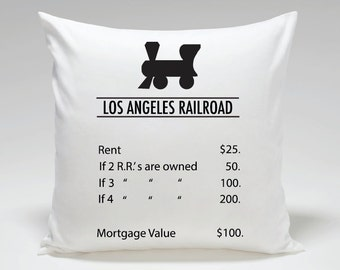 Monopoly inspired Los Angeles Railroad Pillow Cover, Home Decor, Decorative Pillows, Personalized Pillow, California State Pillow