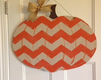 Fall Chevron Pumpkin Door Hanger