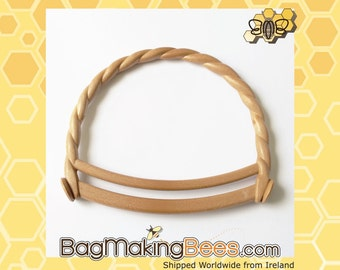 Round Bag Handles - With Brown Wood Effect Twisted/Curly Handle - (Sold By The Pair)