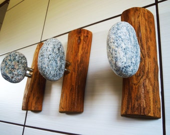 Stone Hooks - Wood Coat Rack with Beach STONES. Rock towel hanger. Sea Stone Coast Hook - 3 pcs Wall mounted coat racks - storage organizers