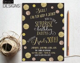 Surprise Birthday Invitation, 30th Birthday Invitation, Gold Glitter Invitation, Birthday Printable, Adult Invitation Printable