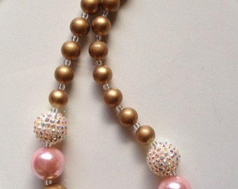 Pink and gold baby chunky necklace, pink gold chunky necklace, photo prop
