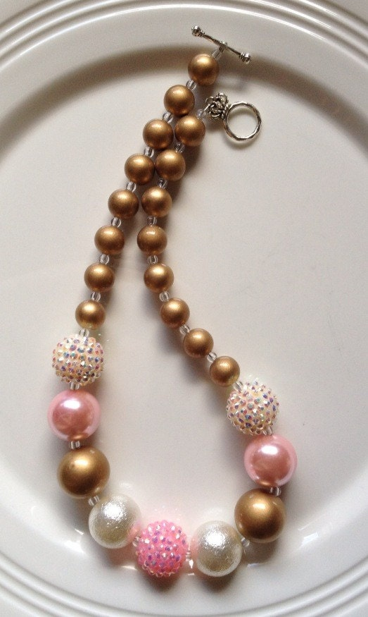 pink and gold baby chunky necklace pink gold chunky necklace