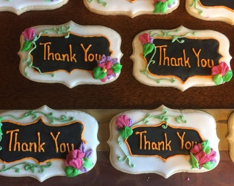 12 Thank You sugar cookies