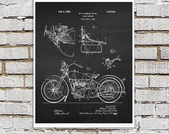 Harley Davidson Patent Art Print #B2 with Chalkboard Background Image. Gift for Biker, Motorcycle Decor Harley Davidson Bar Decor ideas