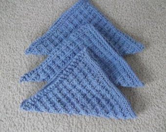 3 hand knit 100% cotton knit Dishcloths/Facecloths in cornflower blue. Hand knitted