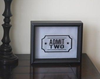 Admit Two Admit One Shadow Box for Ticket Stubs, Ticket Stub Shadow Box