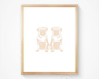 Pug print, dog art, pug printable, pug wall art, pug digital print, pet print, pug art, home print, pet wall art, pug instant print, Taupe