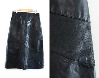 Vintage black leather skirt. 90s Grunge skirt. High waist skirt. Long skirt. Size 13.