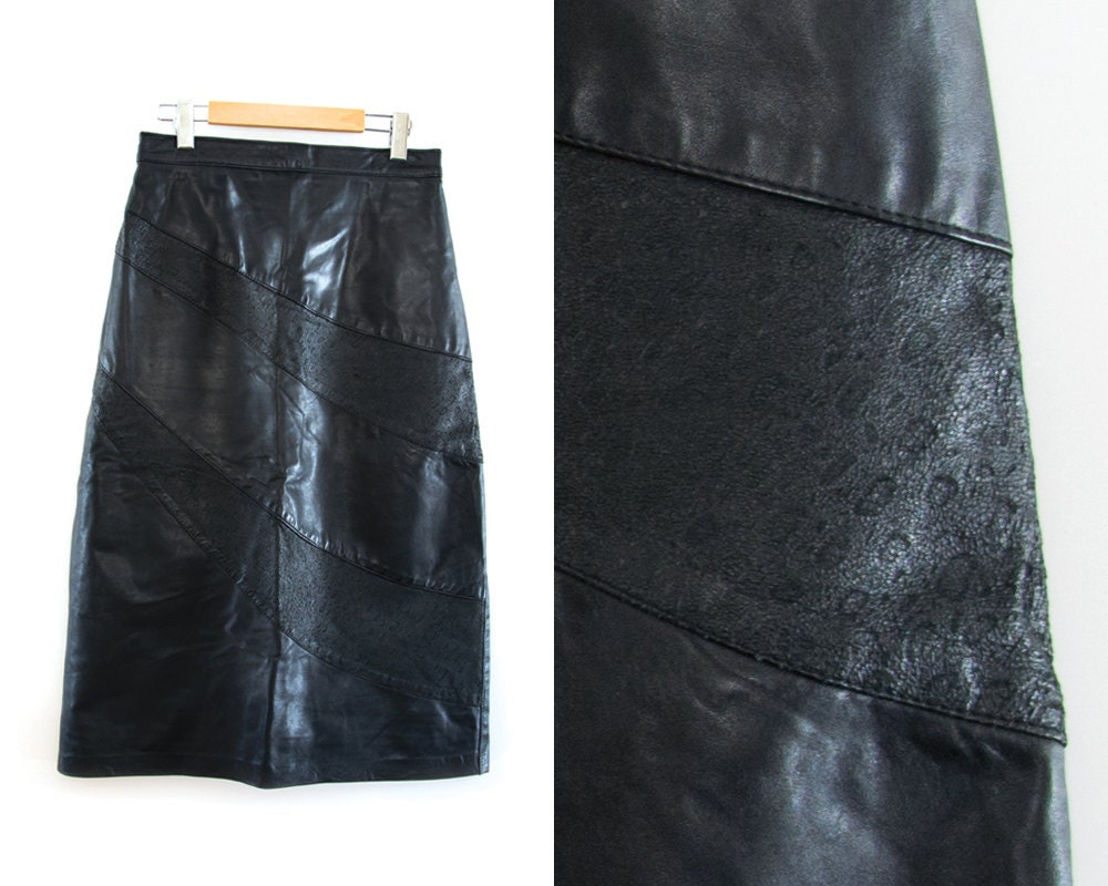 vintage black leather skirt 90s grunge skirt high waist