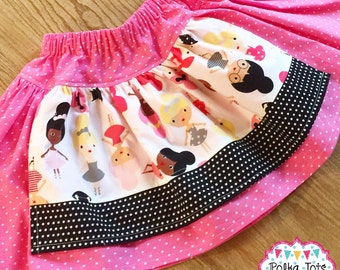 Pink and Black Ballerina Apron Twirly Skirt, Sizes 18 Months to 5T