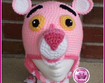 Pink Panther Crochet Hat Made with Soft yarn