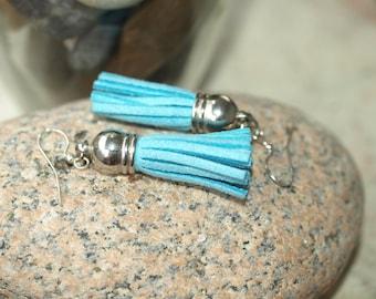 Silver-capped Tassel Earrings