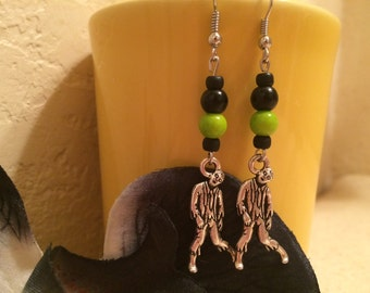 Zombie charm lime green and black drop earrings