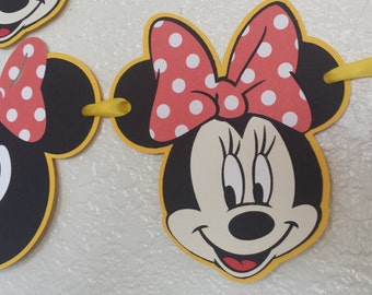 Minnie Mouse Happy Birthday Banner,Minnie Mouse yellow/red