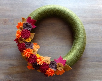 Fall Felt Wreath, Fall Flower Wreath, Felt Flower Wreath, Fall Wreath