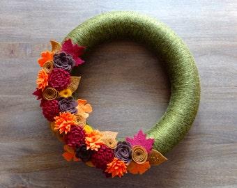 Fall Felt Wreath, Fall Flower Wreath, Felt Flower Wreath, Fall Wreath