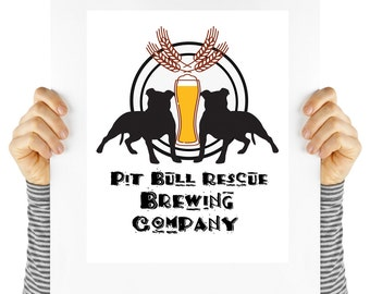 Pit Bull Rescue, Beer Poster, Modern dog print. Digital download, instant art, dog lover, beer and rescue dogs, shelter dogs