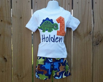 cuetom personalized dinosaur birthday outfit and tie