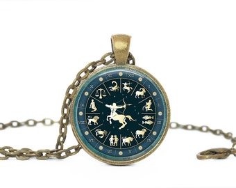 Sagitarius. Navy. Zodiac Sign. Gift. Comes as a necklace or keychain.