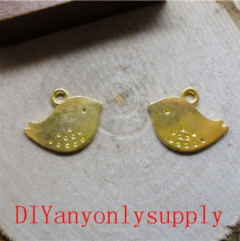 jewelry findings 10 pieces Bird gold plated 13X16mm charm
