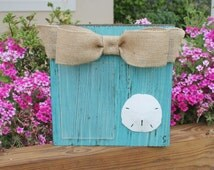 Beach Decor, Sand Dollar Picture Frame, Turquoise Chunky Wood Block Picture Frame with Tan Burlap Bow, Vertical 4x6 Picture Frame