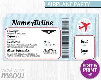 AIRPLANE Ticket Invite Aeroplane Passport Invitation Pilot Fun INSTANT DOWNLOAD Personalize Plane Birthday Party Editable & Printable @Home