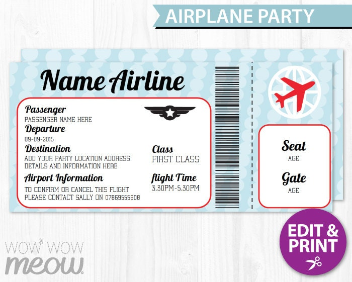 AIRPLANE Ticket Invite Aeroplane Passport Invitation Pilot Fun – Ticket Invitation Template