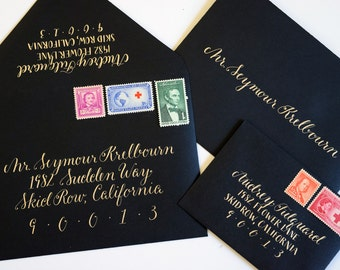 Wedding Calligraphy, Invitation Envelopes, Champagne Gold on Black