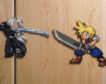 Cloud Strife and Sephiroth perler beads