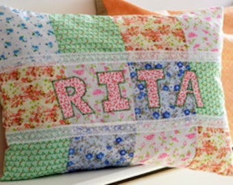 Children's personalised cushion, Girls personalised cushion, Vintage pillow, Vintage personalised cushion, Floral pillows, Gifts for girls