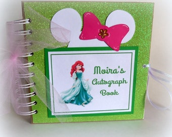 Glittery! PERSONALIZED Ariel Disney Princess Inspired Autograph Book Scrapbook Little Mermaid Travel Journal Vacation Photo Album