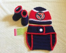 Crochet Baby Houston Texans Diaper Cover Set/Baby Football/Newborn Baby/Baby Boy/Baby Girl/Newborn Photo prop/Baby Shower Gift/Baby Sport