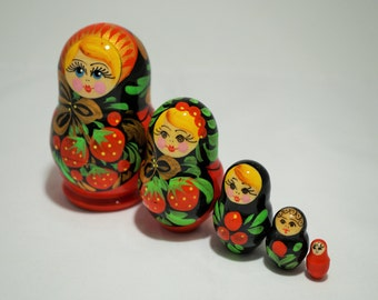 "5 Pc Matreshka Russian Doll, 3.5"" Tall"