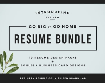 Huge Resume Bundle + Bonus Business Cards! | 10 Resume Designs for Word | Printable 2 Page Resume + Cover Letter + References | Customizable